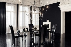 Luxury Black Dining Room Sets With Italian Furniture