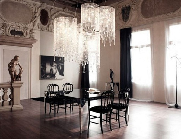 Luxury black dining room sets with italian furniture for Italian dining room decorating ideas