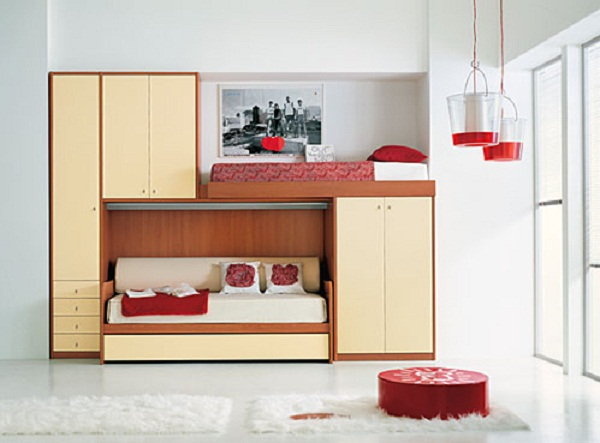 Bunk bed ideas for small rooms home design inside for Small room with two beds