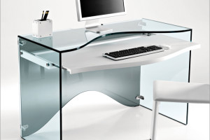 Luxury Transparent Glass Desk With Two Versions