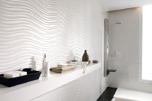 Unique Bathroom Design With Wave Engraving