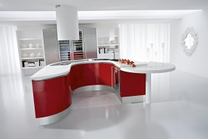 Red White Modern Kitchen Design Idea