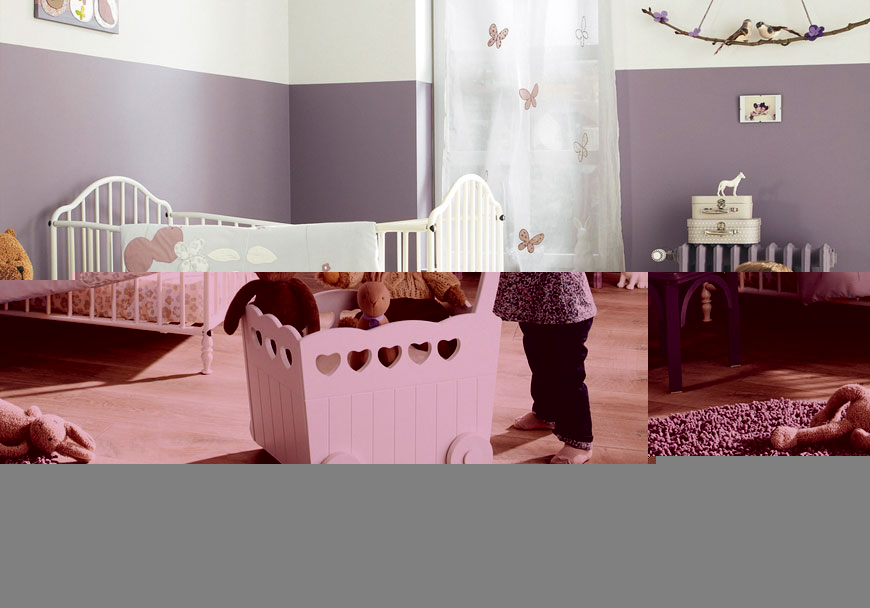 Calm baby nursery purple white design realcohomes Calming colors for baby nursery