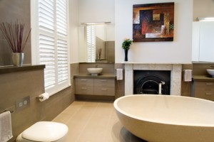 Bubble Big bathroom with Beige And Brown – HIA Australian Awards winning